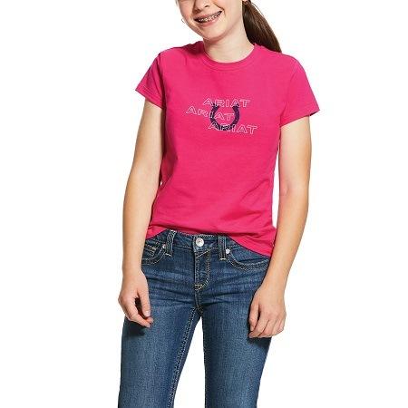 Ariat Girl's Puff Print Logo Tee – Beet Pink