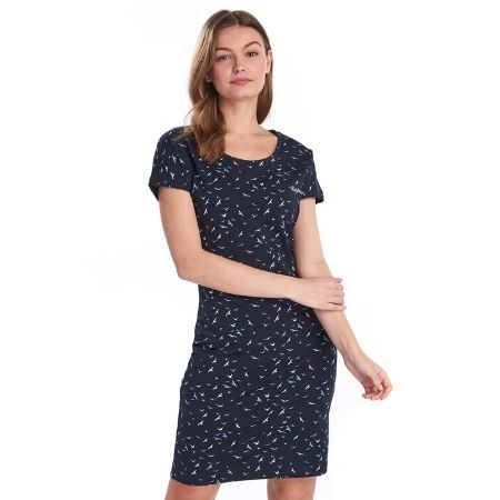 Barbour Harewood Print Dress Navy Coast Model