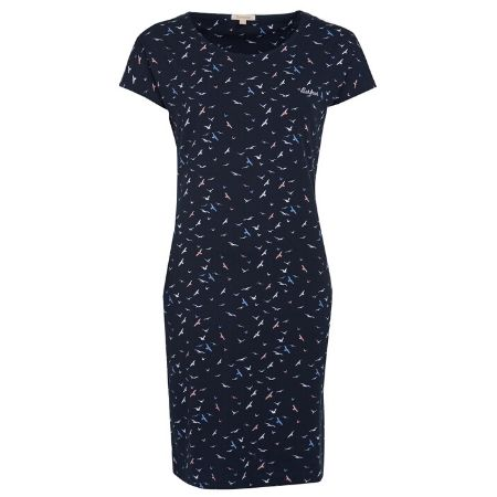 Barbour Harewood Print Dress Navy Coast