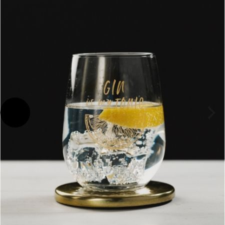 Just Slate Engraved Gin Glass & Coaster